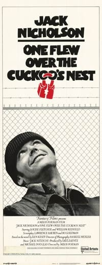 """One Flew Over the Cuckoo's Nest."" (original movie poster) Starring Jack Nicholson (1975)."