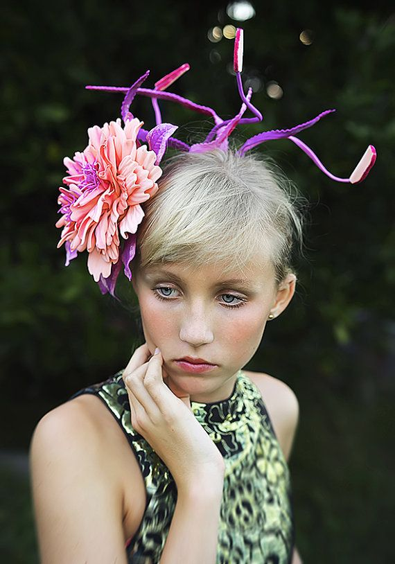 PINK PEONY  pin brooch hair hat clip  headpiece  by Galelina