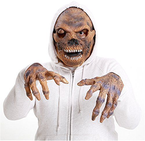 Scary Mask For Halloween  Realistic Latex Zombie Skeleton Face  Hands Costume *** Want to know more, click on the image.