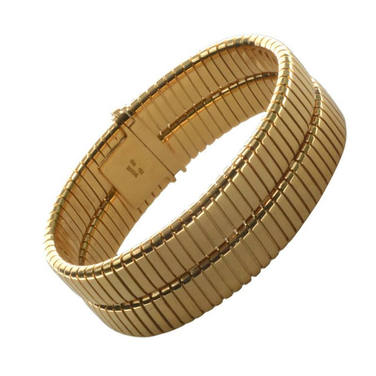 BULGARI Double 'Tubogas' Bracelet in Yellow Gold | From a unique collection of vintage more bracelets at http://www.1stdibs.com/jewelry/bracelets/more-bracelets/