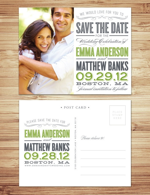Save the Date Post Card in Slate Grey & Meadow Green