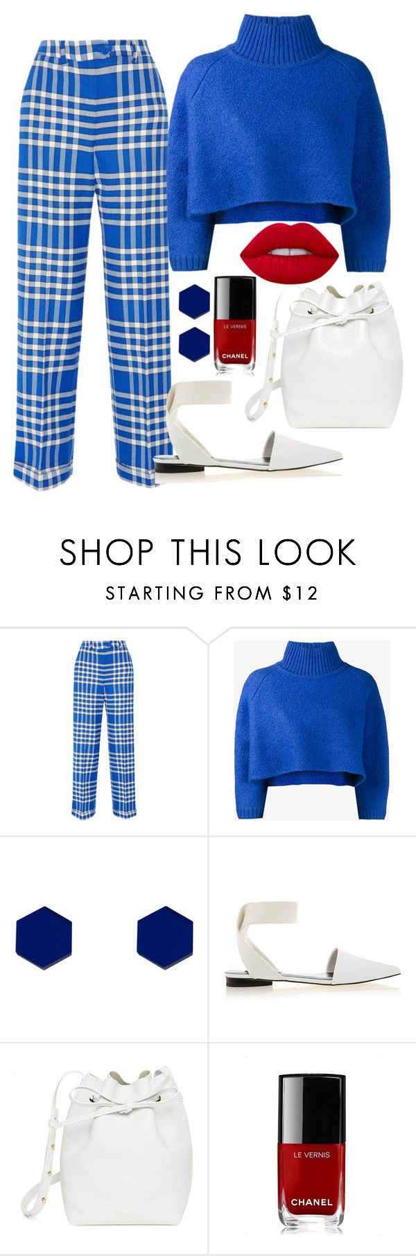 """""""Blue."""" by emiam ❤ liked on Polyvore featuring Jacquemus, Vika Gazinskaya, Wolf & Moon, Senso, Mansur Gavriel, Chanel and Lime Crime"""