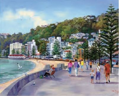 #artprint Oriental Bay by #NewZealand artist Ernest Papps Find out more about NZ www.new-zealand-vacations-in-west-auckland.com