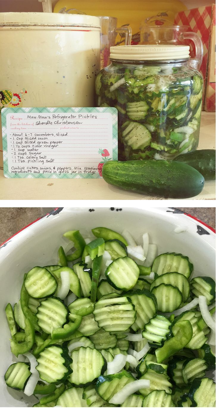 Maw Maw's Refrigerator Sweet Pickles... use sweet red peppers instead of green peppers. (September 03, 2015)