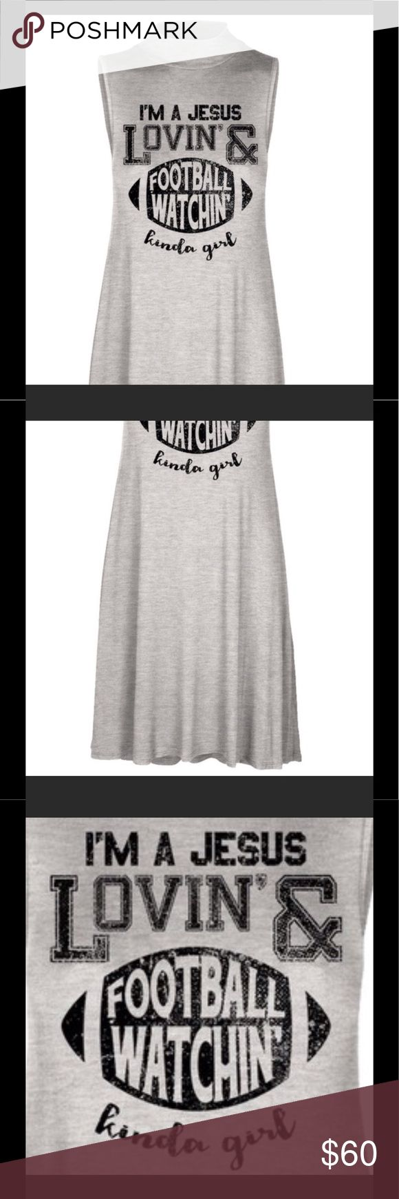 COMING SOON I am a Jesus Lovin' & Football Watchin' Kinda Girl. Dress is a Sleeveless A Line Smock. Size Medium. Made of 95% rayon 5% spandex. Made in the USA. Swanky Coconut Dresses