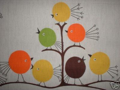 Vintage 60s Retro Mod Groovy Hippie Birdies Bird Fabric