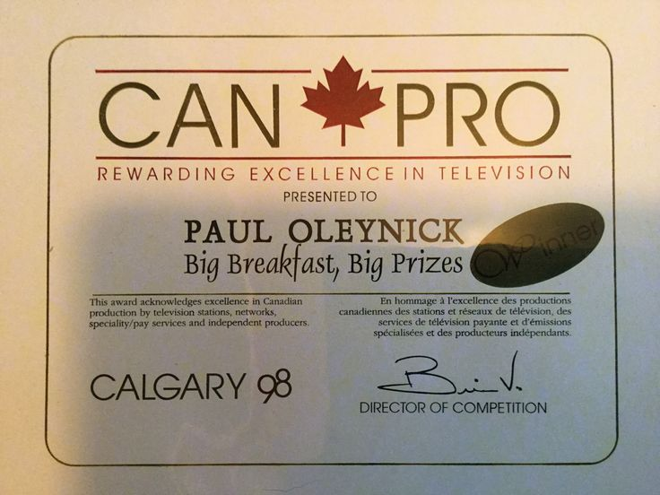 CANPRO TV AWARD for Excellence In Canadian Broadcasting