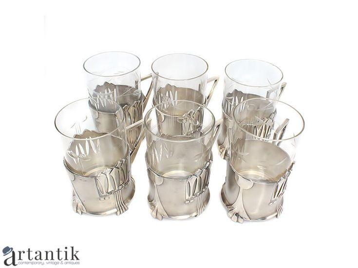 Serviciu Jugendstil, pentru ceai,  șase suporturi cu pahare, atelier WMF/ Jugendstill set for tea, six tea glass holders, WMF workshop