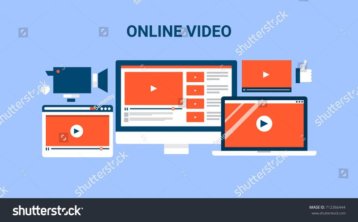 Online video, computer screen, technology, marketing, video player flat vector banner illustration with icons isolated on blue background