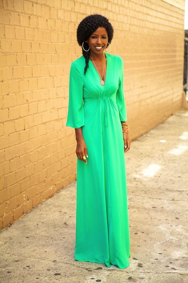 Green maxi dress. Love it!