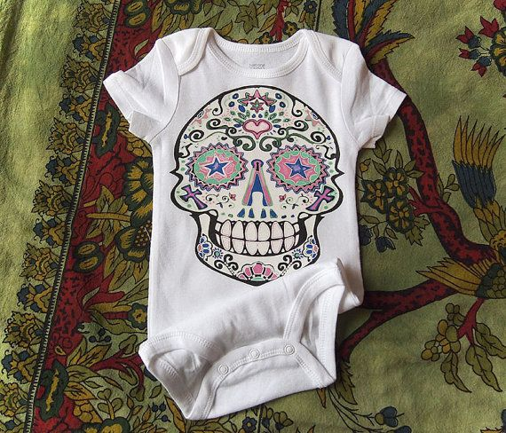 White Sugar Skull Baby Clothes. 0-3 6 12 months. by BonesNelson