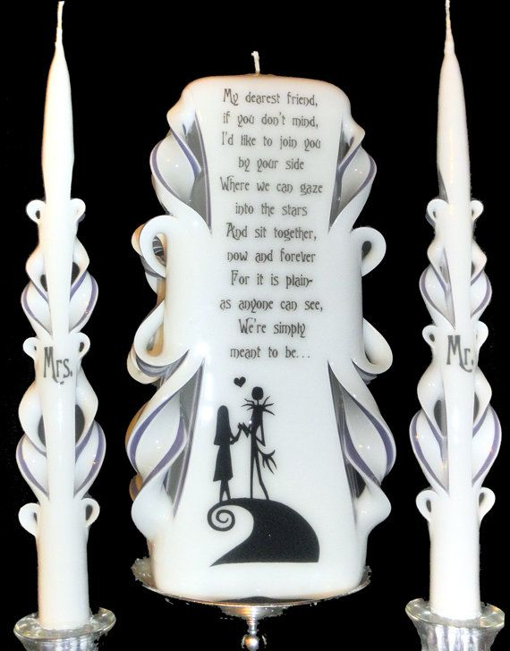 Nightmare Before Christmas wedding unity candle set. 100% custom made, your COLORS, NAMES & DATE! Professional with 20+ years' experience!