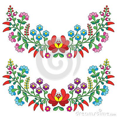 Hungarian floral folk pattern - Kaloscai embroidery with flowers and paprika