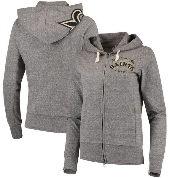 New Orleans Saints Touch by Alyssa Milano Women's Maverick Full-Zip Tri-Blend Hoodie - Gray