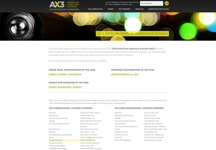 AX3 - American Aperture Awards 2014. Happy to be in the Professional Category Winners for People/Portraits http://ax3.cc/2014-ax3-winners/