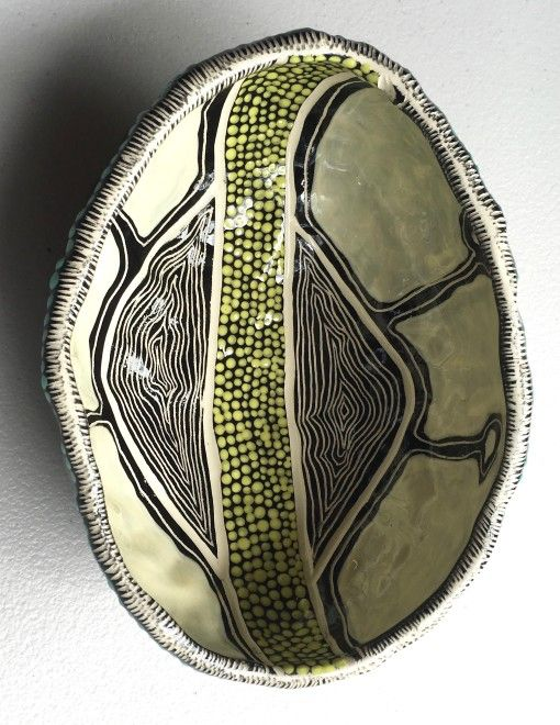 Visual Artist Penny Evans (Aboriginal Australian: 1966) - #546 Emu Egg Encasement ceramic Pinch Pot