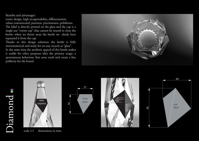 Aqua Carpatica | www.coroflot.com by Cristiano Giuggioli. {Faceted glass bottle.}