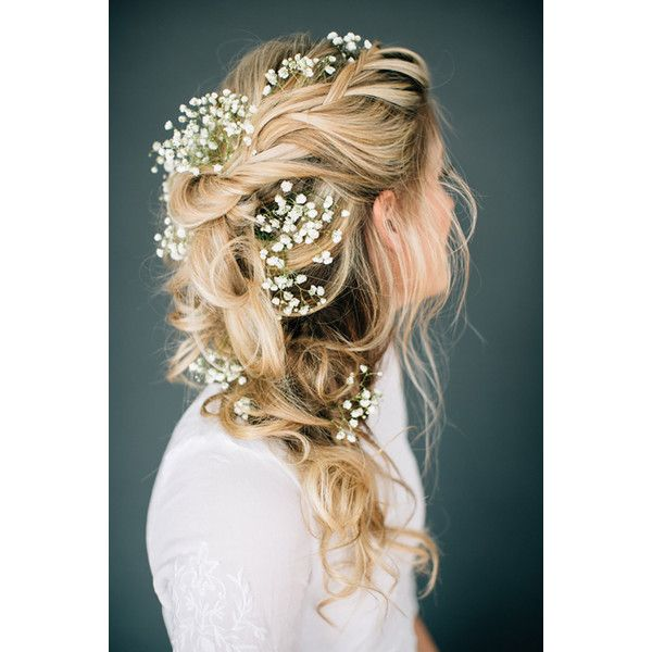 Romantic Tousled Bridal Braid Adorned With Baby's Breath - Mon Cheri... ❤ liked on Polyvore featuring hair