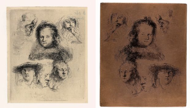 On the left: Rembrandt, Five studies of the head of Saskia, and one of an older woman, 1636. Etching, only state, The Rembrandt House Museum, Amsterdam. On the right: Rembrandt, Etching plate with 'Five studies of the head of Saskia, and one of an older woman', 1636. Copper, The Rembrandt House Museum, Amsterdam