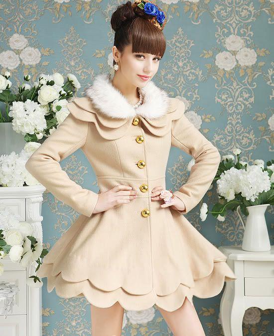 Elegant Cream Double Petalage Fur Collar Woolen Coat | $169.00