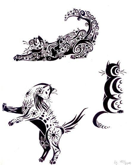 Floral cats tattoo
