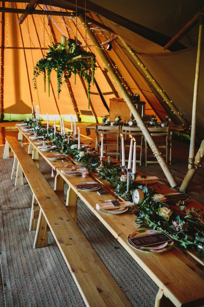 Our Nordic Pine Table with wooden chairs are available to hire as part of your tipi hire or if you are planning an awesome event and need additional furniture.  Styled by Tickety Boo Events, Floral Design by Jo Beth Floral Design  Image by Yvonne Lishman Photography.