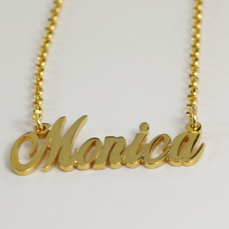 """22K Yellow Gold """"Monica"""" Name Necklace"""