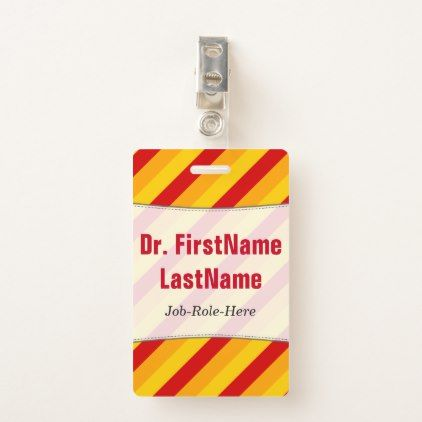Red Orange Yellow Stripes Pattern; Custom Name Badge - stripes gifts cyo unique style