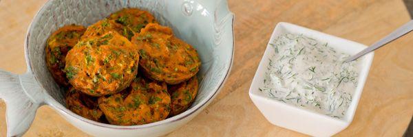 Krabkoekjes met citroen dille saus