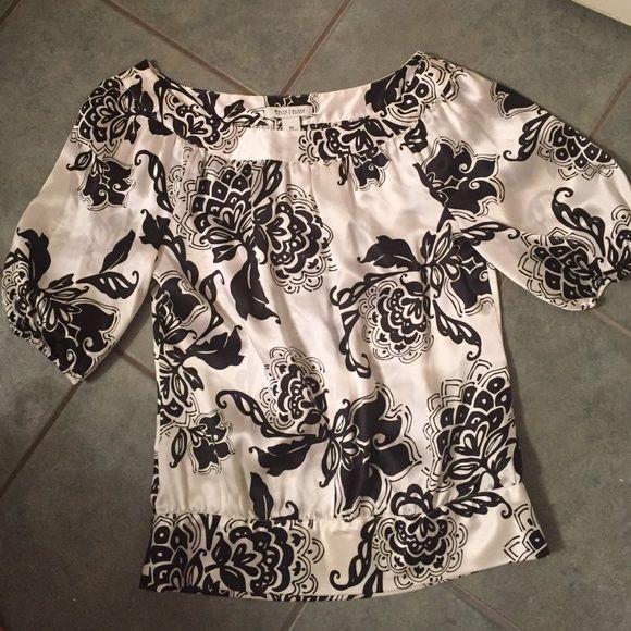 White House/Black Market, cream/black silk shirt WHBM, size XS, cream/ivory and black silk shirt. Like new condition. Worn very few times. White House Black Market Tops Blouses