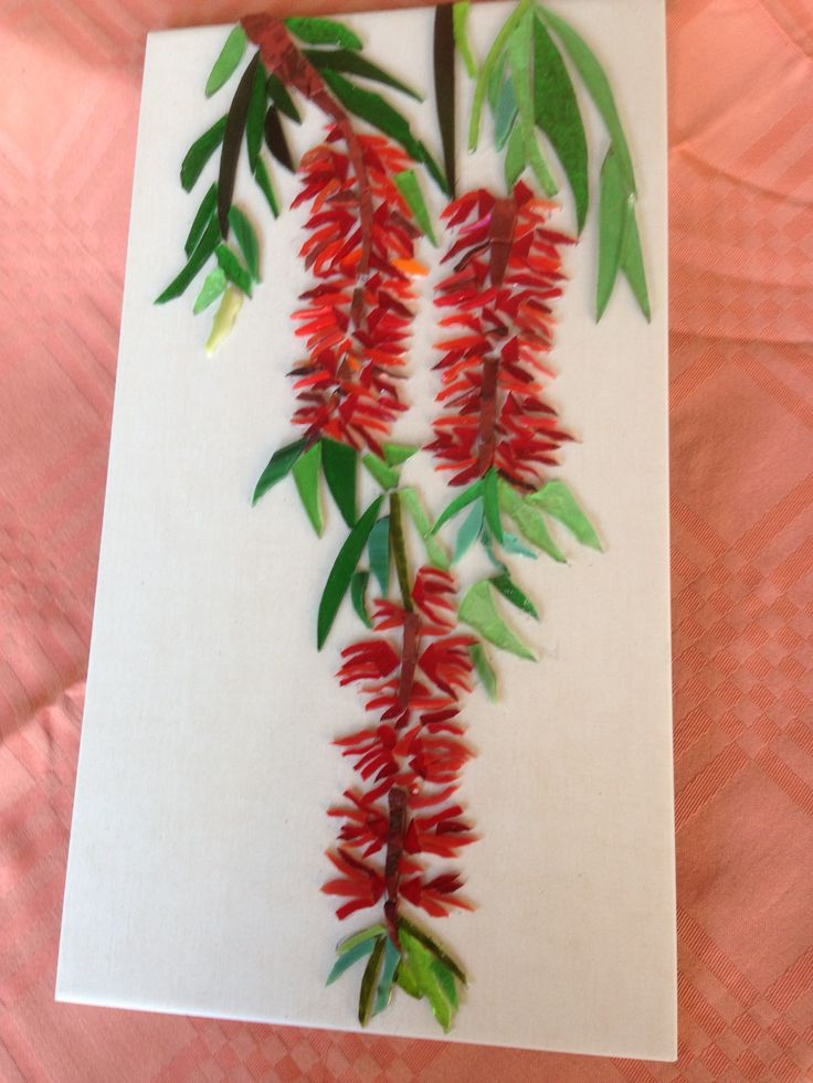 July 2015 Bottlebrush flowers, glass,no grout.Will be hung with the Protea and Waratah on my front wall of the house