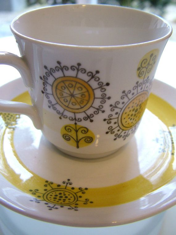 RöRSTRAND Sweden PUCK cup and saucer Vintage mid by MarthesVintage