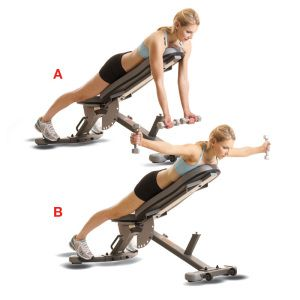 For a gorgeous back you must strengthen your rear shoulder muscles. Straddle and lean on an incline bench. Hold 5-8 lb. dumbbells in front of you PALMS FACING OUT (A). While exhaling, navel pinned to spine, arms straight, bring weights up parallel to your shoulders, thumbs toward ceiling (B). Here's the key: as you bring your arms up squeeze together the muscles of your upper middle back and hold the contraction for a count of 3. Inhale as you lower down. Repeat for 4 sets of 10 reps.