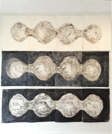 """Tara Geer #monoprint installation, 92""""x88"""", from Working In Print, an exhibit of new print works by Kathleen Kucka and Tara Geer at Russell Janis. Up through May 14th. For more info http://www.russelljanis.com/artists/kucka-geer. #printmaking #monoprint #largeprints #contemporaryart"""