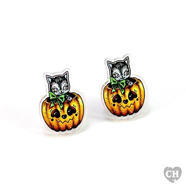 'Pumpkin Cat' Ear Studs Creep Heart
