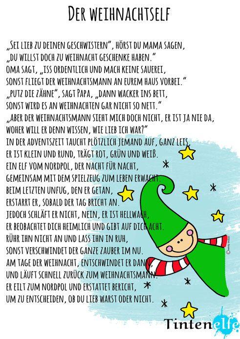 Tintenelfe.de - Adventsgeschichte zum kostenlosen download. Elf nähen, Buch ausdrucken und Spaß in der Adventszeit haben! Elf on the Shelf auf deutsch #elfontheshelf #weihnachten #christmas #elf #wichtel #advent #geschichte #gedicht #weihnachtsgedicht #freebie #printable