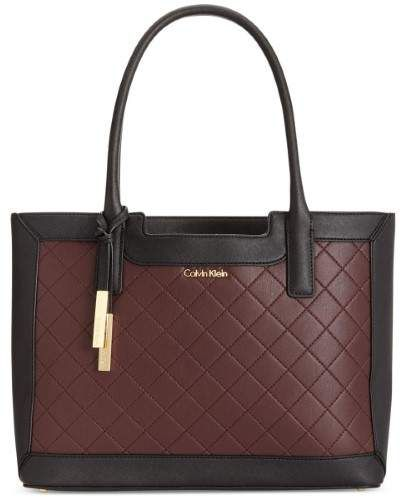 Calvin Klein Womens Kitote Leather Quilted Tote Handbag