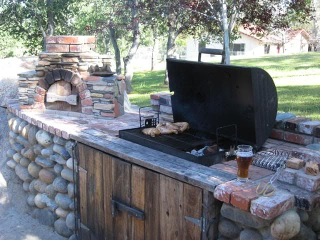 built in wood burning barbeque pits   always wanted a built in BBQ so I built in my Chargriller.
