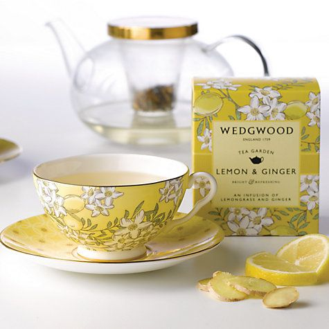 John Lewis Wedgwood Tea Garden Lemon & Ginger Teacup & Saucer Online at johnlewis.com