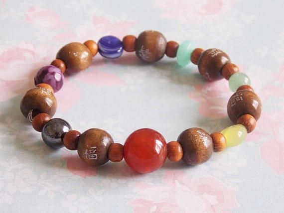 7 Chakra Bracelet (Gemstones, Crystals, Nature Stones, Chakra Balancing, Yoga, Meditation, Recycled Materials)