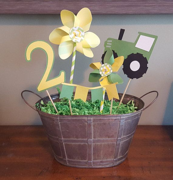 I absolutely adore pinwheels! I had to include them in the centerpieces for my sons tractor themed birthday party. I hope that you love them as much as I do! This listing is for five tractor themed centerpieces. The centerpiece items will include: one tractor, one medium (5 inches) pinwheel, one small (4 inches) pinwheel, one banner and one number. Please select the age during checkout. The number is 4 inches tall. The tractor is 4 inches wide. The banner is four inches wide.  This listing…
