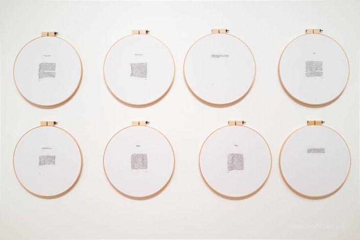 Exercices de Style / Ejercicios de Estilo (bordado). 2015. Bordado a mano. 47 cm de diámetro c/u. #bordado #embroidery #text #letras