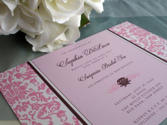 Pink and black engagement invite
