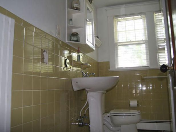 how to cover dated bathroom tile with wainscoting - Wall Tiles For Bathroom Designs