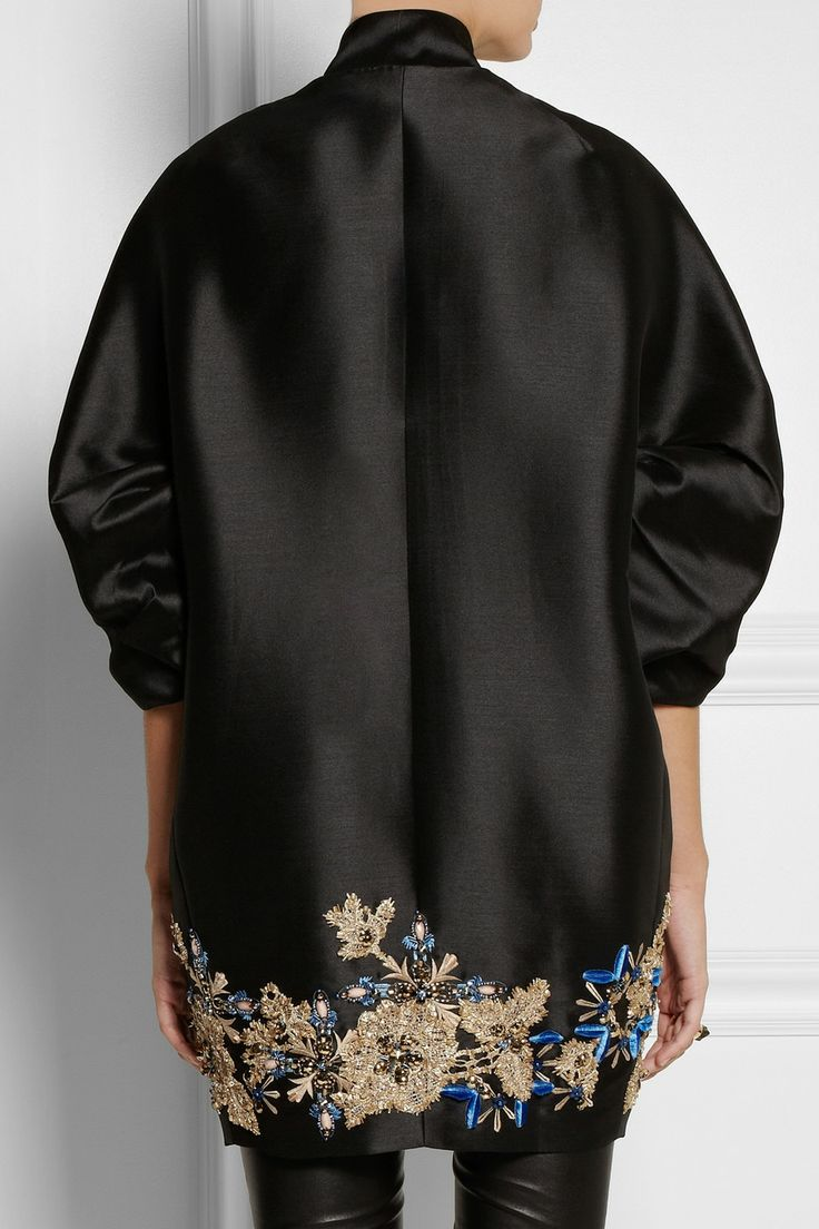 Biyan | Hyuana embellished shantung coat - back