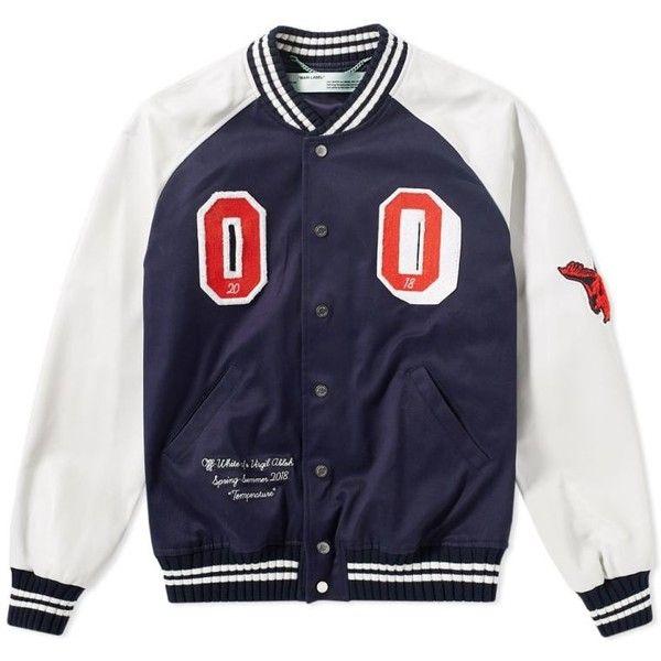 Off White Patch Varsity jacket ($1,660) ❤ liked on Polyvore