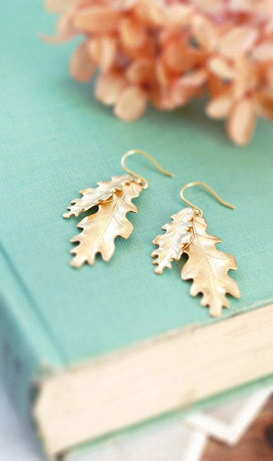 Oak Leaf Earrings. Gold Brass Oak Leaf Dangle Earrings