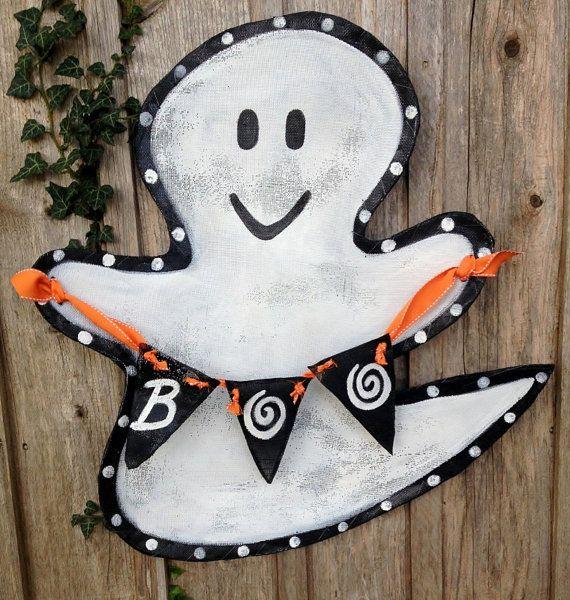 Halloween Ghost Boo Door Decor Wreath by doornament on Etsy, $50.00
