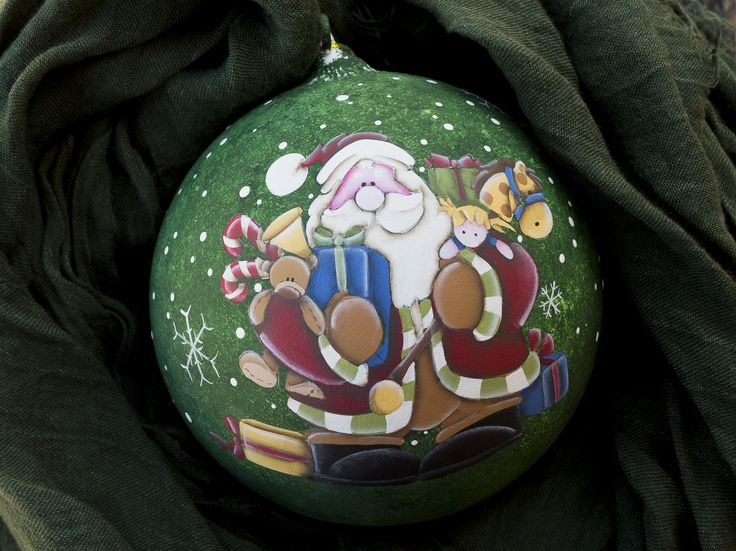 Christmas ornaments Glass ball 12 cm hand painted 'santa with presents'