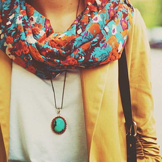 blazer + scarf.Colors Combos, Style, Infinity Scarf, Turquoise Necklace, Colors Combinations, Floral Scarf, Long Necklaces, Bright Colors, Yellow Blazer